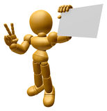 3D Wood Doll Mascot the left hand victory gesture and right hand Royalty Free Stock Image