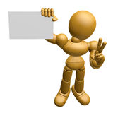 3D Wood Doll Mascot the left hand victory gesture and right hand Royalty Free Stock Images