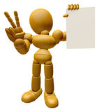3D Wood Doll Mascot the left hand victory gesture and right hand Stock Photos