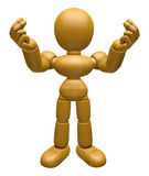 3D Wood Doll Mascot the money gesture. 3D Wooden Ball Jointed Do Royalty Free Stock Images