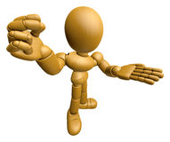 3D Wood Doll Mascot the money gesture. 3D Wooden Ball Jointed Do Stock Images