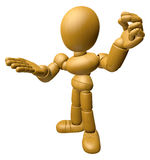 3D Wood Doll Mascot is money gestures of both hands. 3D Wooden B Stock Image