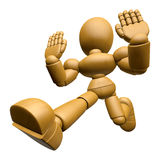 3D Wood Doll Mascot is No gestures of both hands. 3D Wooden Ball Stock Photos