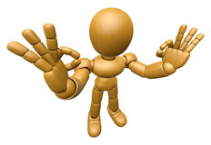 3D Wood Doll Mascot It is OK gesture of both hands. 3D Wooden Ba Stock Photography