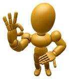 3D Wood Doll Mascot It is OK gesture of both hands. 3D Wooden Ba Royalty Free Stock Photo
