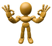 3D Wood Doll Mascot It is OK gesture of both hands. 3D Wooden Ba Royalty Free Stock Images
