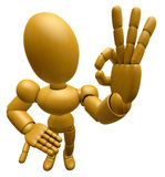 3D Wood Doll Mascot the OK gesture. 3D Wooden Ball Jointed Doll Stock Photography