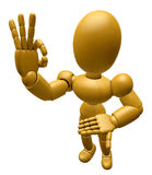 3D Wood Doll Mascot the OK gesture. 3D Wooden Ball Jointed Doll Royalty Free Stock Photo