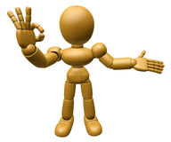 3D Wood Doll Mascot the OK gesture. 3D Wooden Ball Jointed Doll Stock Photos