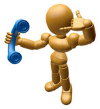 3D Wood Doll Mascot Please call me today. 3D Wooden Ball Jointed Royalty Free Stock Photo