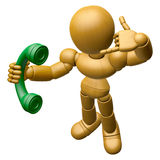 3D Wood Doll Mascot Please call me today.  Royalty Free Stock Photo