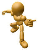3D Wood Doll Mascot is points a finger one direction. 3D Wooden Stock Photography