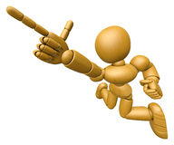 3D Wood Doll Mascot is points a finger one direction. 3D Wooden Royalty Free Stock Images