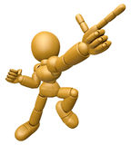 3D Wood Doll Mascot is points a finger one direction Royalty Free Stock Image