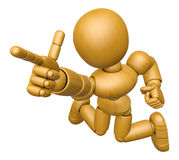 3D Wood Doll Mascot is points a finger one direction Royalty Free Stock Images