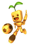 3D Wood Doll Mascot is a powerful Football playing. Wooden Ball Stock Photo