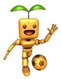 3D Wood Doll Mascot is a powerful Football playing. Wooden Ball Royalty Free Stock Photos