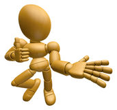 3D Wood Doll Mascot Provide direction and the best gesture. 3D W Stock Photography