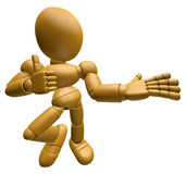 3D Wood Doll Mascot Provide direction and the best gesture. 3D W Stock Photo