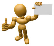 3D Wood Doll Mascot the right hand best gesture and left hand is Royalty Free Stock Photography