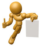 3D Wood Doll Mascot the right hand best gesture and left hand is Stock Image