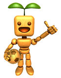 3D Wood Doll Mascot the right hand best gesture and left hand is Stock Photos
