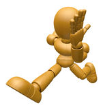 3D Wood Doll Mascot run at full speed. 3D Wooden Ball Jointed Do Stock Photo