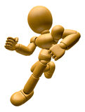 3D Wood Doll Mascot on Running. 3D Wooden Ball Jointed Doll Char Stock Photos