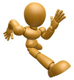 3D Wood Doll Mascot on Running. 3D Wooden Ball Jointed Doll Char Stock Photography
