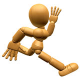 3D Wood Doll Mascot on Running. 3D Wooden Ball Jointed Doll Char Stock Photo