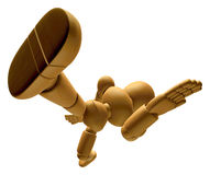 3D Wood Doll Mascot running on a High Angle Shot. 3D Wooden Ball Stock Images
