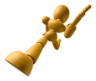 3D Wood Doll Mascot running on a High Angle Shot. 3D Wooden Ball Royalty Free Stock Photography
