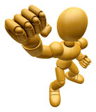 3D Wood Doll Mascot is the strike with one's fist. 3D Wooden Bal Stock Photography