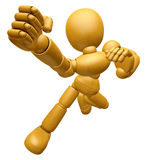 3D Wood Doll Mascot is the strike with one's fist. 3D Wooden Bal Royalty Free Stock Images