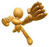 3D Wood Doll Mascot is the strike with one's fist. 3D Wooden Bal Royalty Free Stock Photos