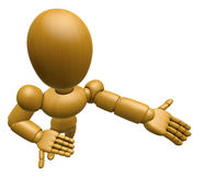 3D Wood Doll Mascot Suggests the direction with both hands. 3D W Stock Photography