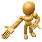 3D Wood Doll Mascot Suggests the direction with both hands. 3D W Royalty Free Stock Photography