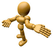 3D Wood Doll Mascot Suggests the direction with both hands. 3D W Stock Images