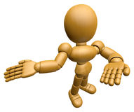 3D Wood Doll Mascot Suggests the direction with both hands Stock Photography