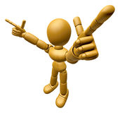 3D Wood Doll Mascot is taking gestures of Double pistols. 3D Woo Royalty Free Stock Photos
