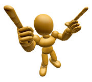 3D Wood Doll Mascot is taking gestures of Double pistols. 3D Woo Royalty Free Stock Photo
