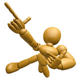 3D Wood Doll Mascot is taking gestures of Double pistols. 3D Woo Royalty Free Stock Images