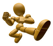 3D Wood Doll Mascot to be powerful whip kicks. 3D Mobile Phone C Stock Photography