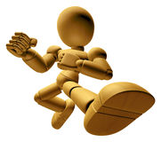 3D Wood Doll Mascot to be powerful whip kicks. 3D Mobile Phone C Stock Image