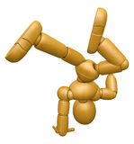 3D Wood Doll Mascot is to play Break dancing. 3D Wooden Ball Joi Royalty Free Stock Photo