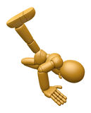 3D Wood Doll Mascot is to play Break dancing. 3D Wooden Ball Joi Stock Images