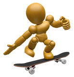 3D Wood Doll Mascot to play skateboard. 3D Wooden Ball Jointed D Royalty Free Stock Photos