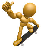 3D Wood Doll Mascot to play skateboard. 3D Wooden Ball Jointed D Stock Photography