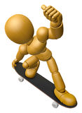 3D Wood Doll Mascot to play skateboard. 3D Wooden Ball Jointed D Royalty Free Stock Image