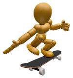 3D Wood Doll Mascot to play skateboard. 3D Wooden Ball Jointed D Stock Photo